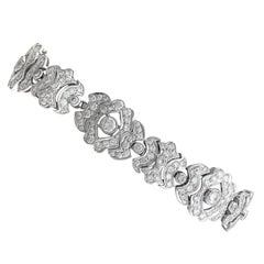 1980s 7.22 Carat Diamond and White Gold Bracelet