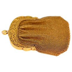 French Yellow Gold Mesh Purse
