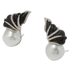 Onyx South Sea Cultured Pearl Earrings Clips, 750 White Gold