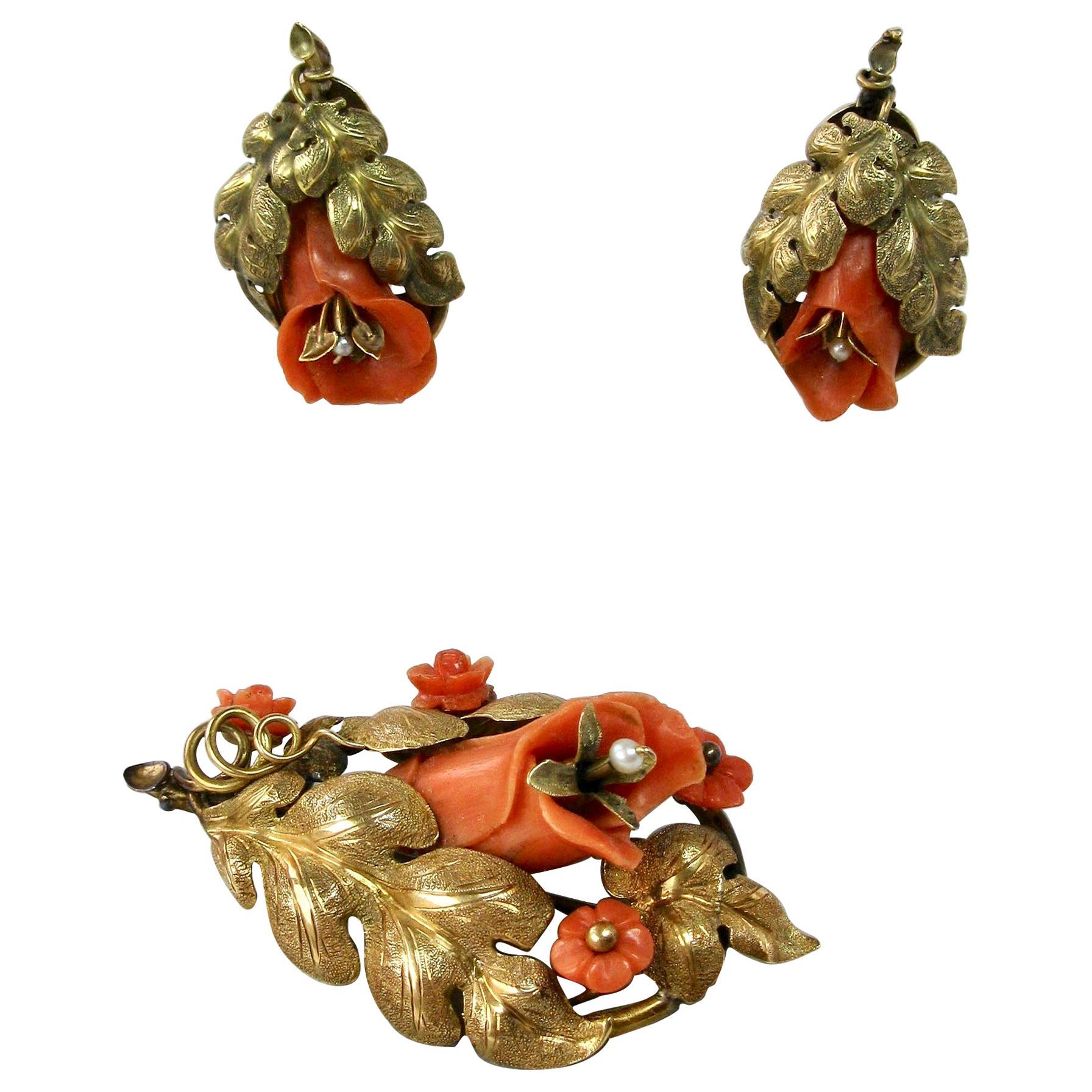 Victorian Coral 14 Karat Gold Earrings Brooch Flower Leaf Motif, circa 1870
