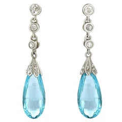Antique 9.15 Carat Aquamarine and Diamond White Gold and Platinum Earrings