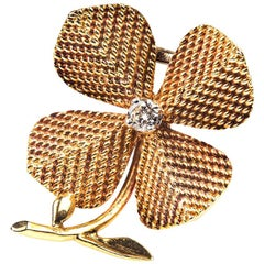 Sterle Paris Gold and Diamond Four Leaf Clover Brooch