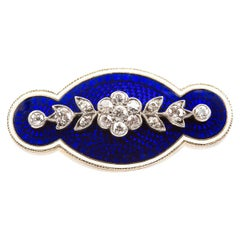 Antique Diamond Set Gold Mounted Brooch in Blue and White Enamel