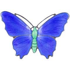 Antique Victorian Blue Enamel Butterfly Brooch Sterling Silver, circa 1900