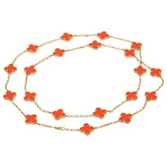 Van Cleef & Arpels 20 Motif Vintage Alhambra Necklace in Coral and 18 Karat Gold