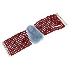 Coral 18 Karat Yellow Gold Jade Cuff Bracelet