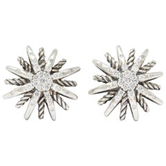 David Yurman Diamond Sterling Silver Starburst Earrings