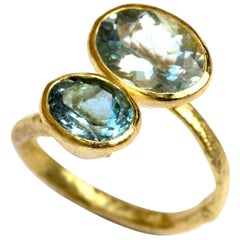Double Oval Aquamarine 18 Karat Gold Textured Ring Handmade by Disa Allsopp