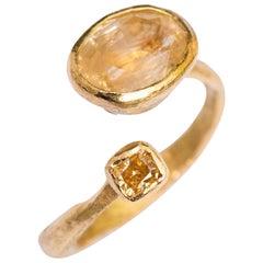 Yellow Sapphire and Diamond 18 Karat Gold Handmade Ring by Disa Allsopp