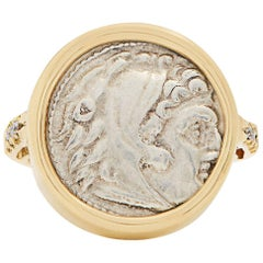 Dubini Ancient Alexander the Great Silver Coin Diamond Signet Yellow Gold Ring