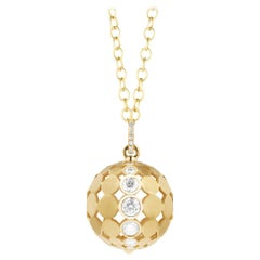 Carelle Disco Dots Diamond Ball Pendant in 18 Karat YG with 2.05 Carat Diamond