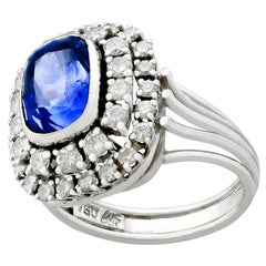 French 5.40 Carat Ceylon Sapphire 1.45 Carat Diamond White Gold Cluster Ring