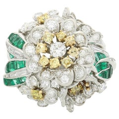Shreve & Co. Fancy Yellow and White Diamond Flower Cluster Ring