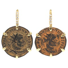 Dubini Empires Ancient Bronze Coins Diamond 18 Karat Yellow Gold Earrings