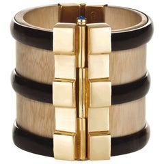 Cuff Bracelet Bespoke Gold Horn Sapphire Emerald Ruby