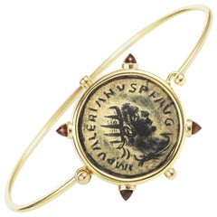 Dubini Ancient Bronze Roman Coin Garnet 18 Karat Yellow Gold Bracelet