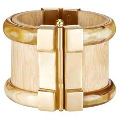 Cuff Bracelet Gold Bespoke Horn Wood Ruby Emerald Fire Opal