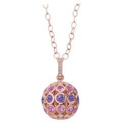 Carelle Disco Dots 4.58ct Color Sapphire Ball Pendant in 18K RG, .60ct Diamonds