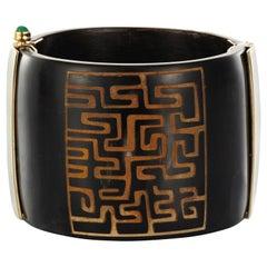Cuff Bracelet Bespoke Horn Emerald Ruby Sapphire