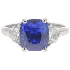 4.73 Carat Blue Sapphire Cocktail Ring Set with Half Moon Diamond No Heated