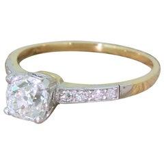 Edwardian 0.96 Carat Old Cut Diamond Engagement Ring
