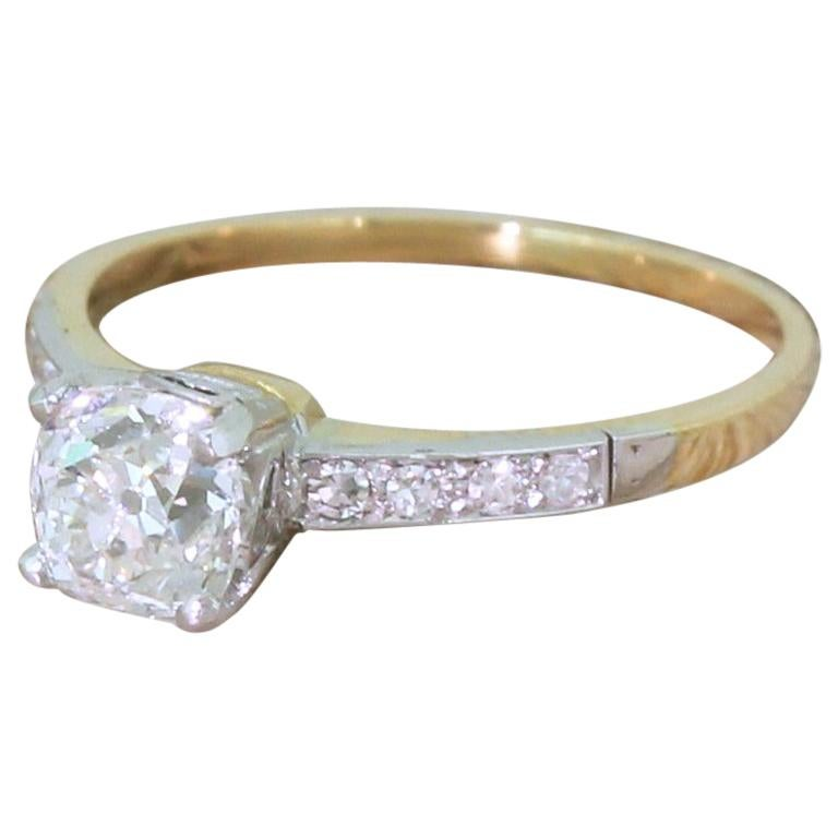 Edwardian 0.96 Carat Old Cut Diamond Engagement Ring For Sale