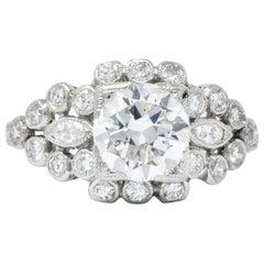 Art Deco 1.69 Carat Diamond Platinum Engagement Ring GIA