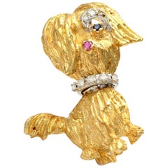 Solid 14 Karat Gold Designer Dog Pin with Natural Diamonds, Sapphire and Ruby!