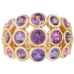 Carelle Disco Dots Band in 18K YG with 3.55ct Color Sapphire and 0.24ct Diamond