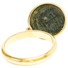 Dubini Emperor Flip Ancient Roman Bronze Coin 18 Karat Yellow Gold Ring