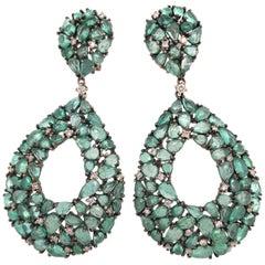 Ruchi New York Chandelier Emerald and Diamond Earrings