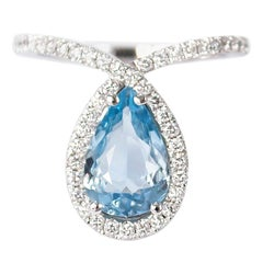 J. Birnbach 14 Karat White Gold Aquamarine and Diamond Fashion Ring