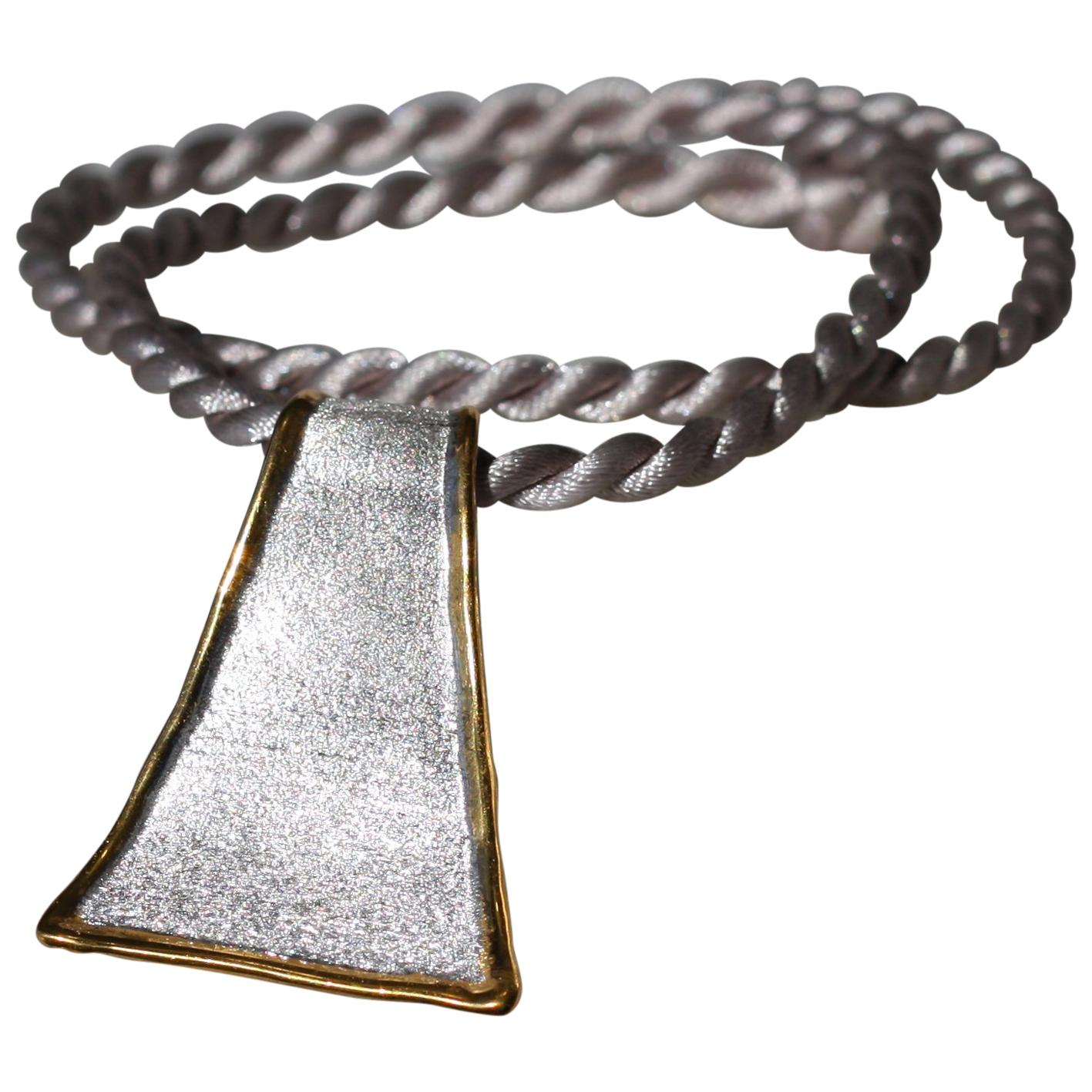 Yianni Creations Fine Silver and 24 Karat Gold Two Tone Pendant Necklace