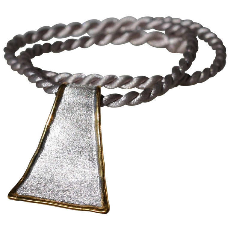 Yianni Creations Fine Silver and 24 Karat Gold Pendant Necklace For Sale