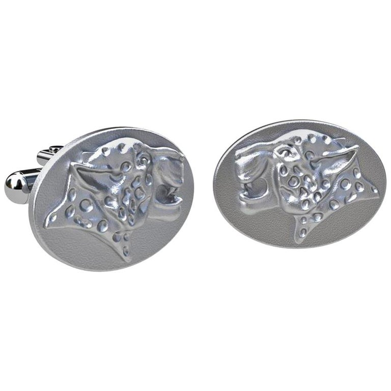 Sterling Spotted Leopard Cufflinks For Sale