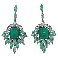Ruchi New York Chandelier Cabochon and Marquise Emerald Earrings