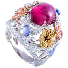 Garrard Diamond, Pink Tourmaline and Sapphire Yellow, White and Rose Gold Ring
