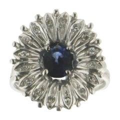 Sapphire 18 Karat White Gold Diamonds Cocktail Ring