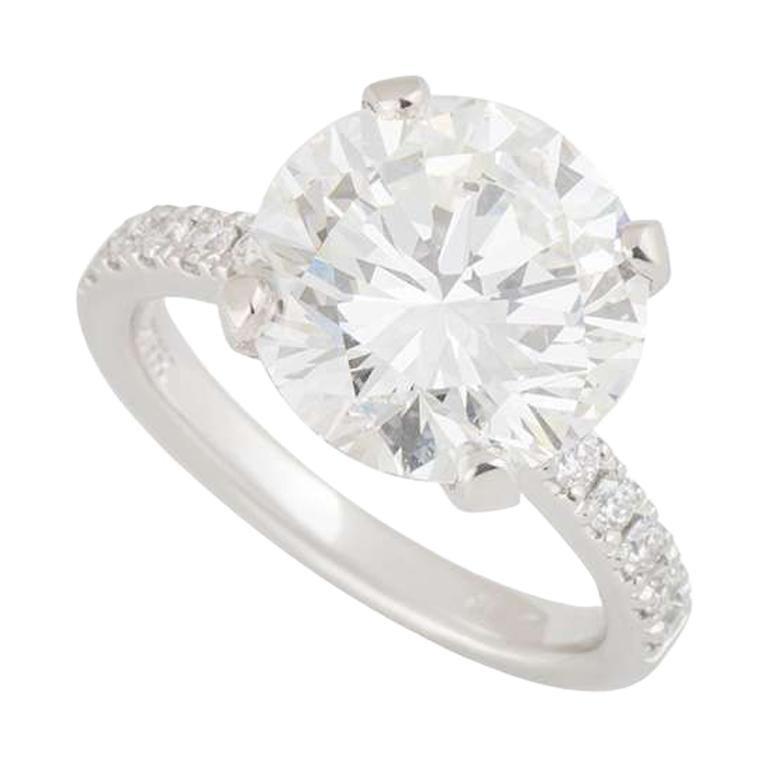 GIA Certified Round Diamond Platinum Solitaire Engagement Ring 5.02 Carat