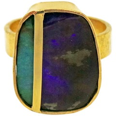 Hand Forged Australian Boulder Opal Minimalist Gold Ring