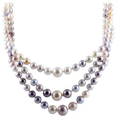Diamond and Gold, Grey, Pink and Black Pearls Platinum Multi-Strand Necklace