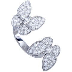 Van Cleef & Arpels Between the Finger Diamond Two Butterfly White Gold Ring