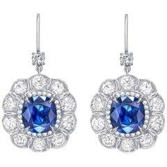 Garrard 7.57 Carat Marguerite GPL Blue Sapphire and White Diamond Earrings
