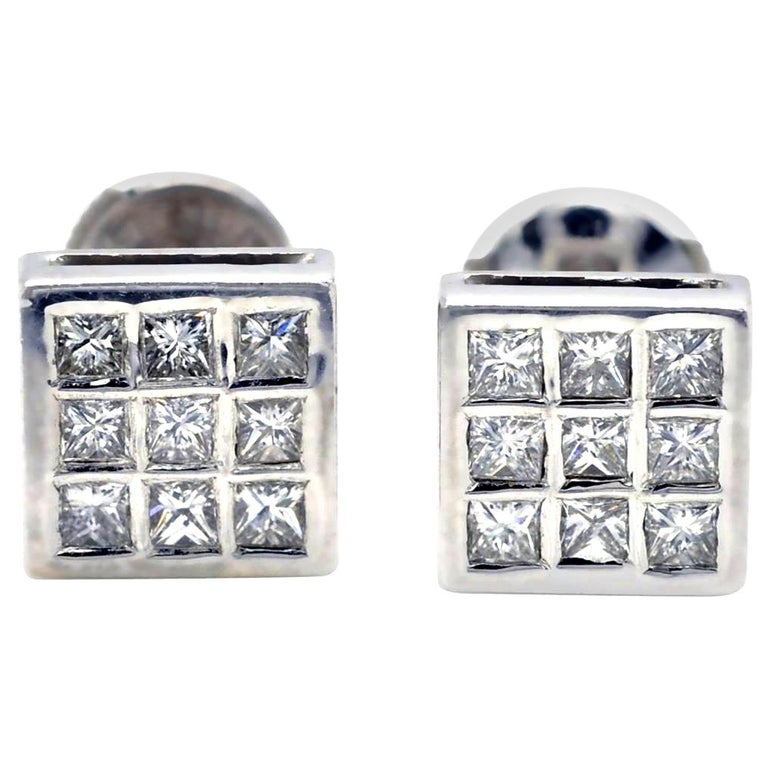 Princess Diamond 18 Karat Gold White-Gold Stud Earrings For Sale