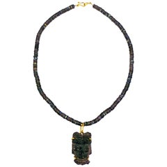 Pre-Columbian Carved Stone Head on Labradorite Beaded Necklace