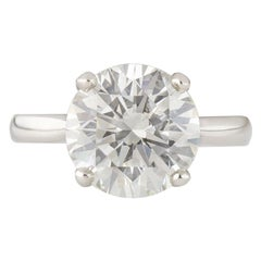 5.01 Carat Round Brilliant Diamond Solitaire Platinum Ring GIA Certified