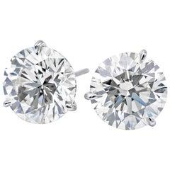 Diamond Stud Earrings 2.06 Carat E-F SI3-I1
