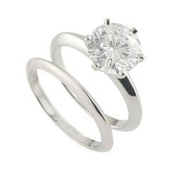 Tiffany & Co. Diamond Ring 2.04 Carat with Matching Wedding Ring