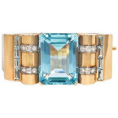 Retro  Aquamarine Diamond Gold Bangle Bracelet