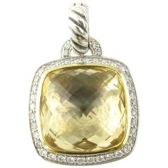 David Yurman Albion Sterling 18 Karat Yellow Gold Citrine Diamond Enhancer
